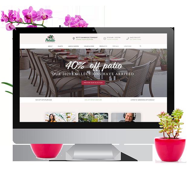 petitti garden centers website on computer screen
