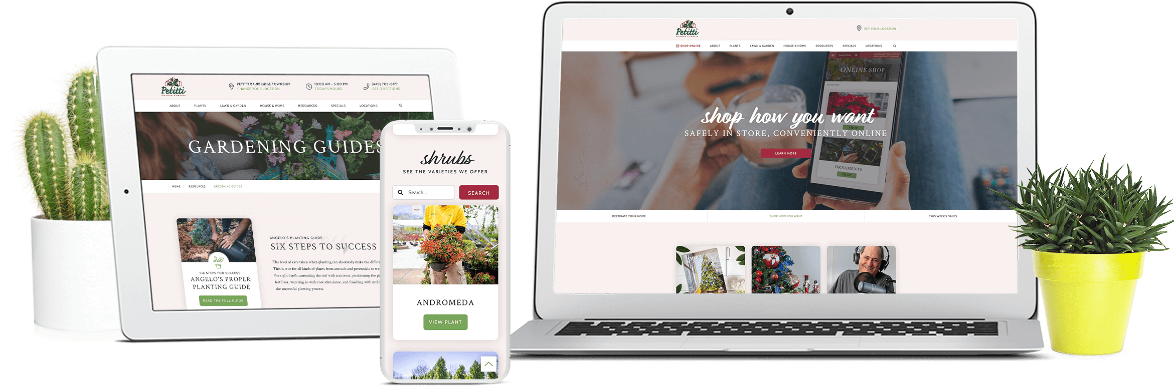 new petitti website on multiple different devices