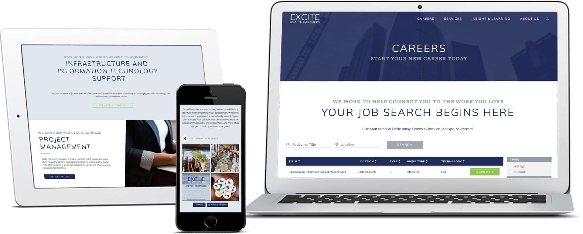 Excite Health Partners website mocked up on devices
