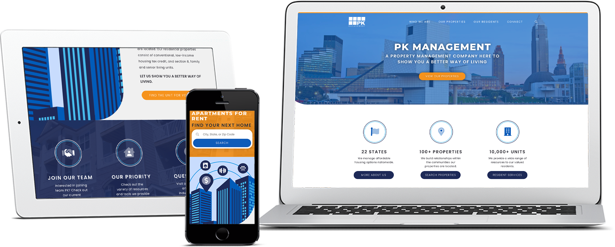 PK Management site on tablet, smartphone, and laptop screen