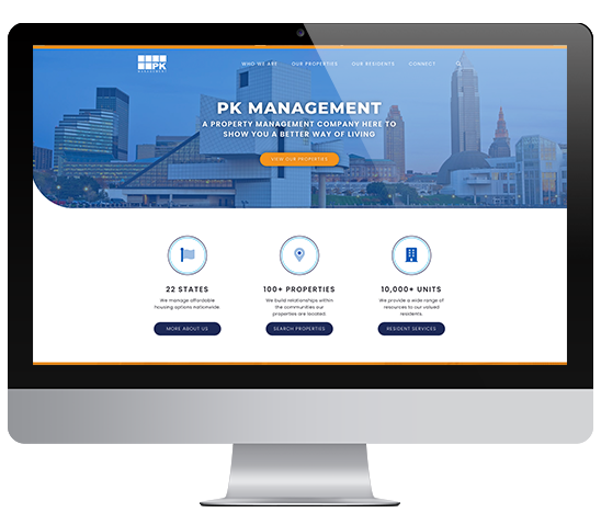 PK Management site on computer screen