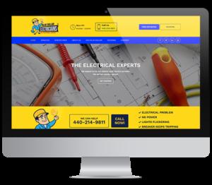 blue collar electricians' website on computer