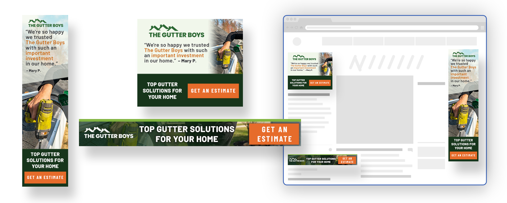 the gutter boys programmatic ads showcase image on computer;